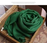 Bandana 100% Silk Chiffon Scarf skyour designer luxury women scarfs Green silk scarves brand pashminas and newborn Wrap Hijab