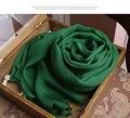 Pañuelo 100% Pañuelo De Seda Chifón skyour mujeres de lujo del diseñador marca pashminas y recién nacido Envolver Hijab bufandas pañuelos de seda Verde
