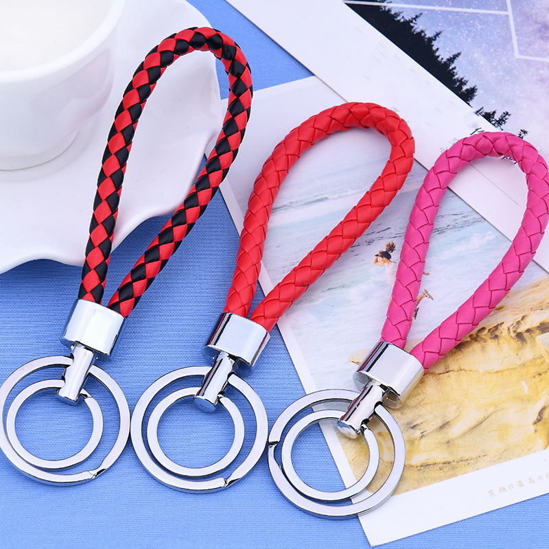 13 Colors PU Leather Braided Woven Rope Double Rings DIY Bag Pendant Key Chain Holder Car Keyrings Men Women Keychain Jewelry