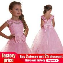 Платье для первого причастия с большим бантом для девочек; платье с цветочным узором для девочек на свадьбу, выпускной вечер; детское бальное платье; пышная одежда; vestido comunion