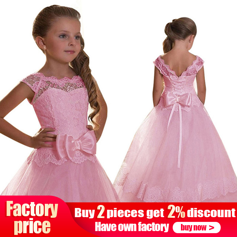 Big bow   girls   first communion   dress     girls     flower   weddings prom   dresses   kids children ball gown fluffy clothing vestido comunion