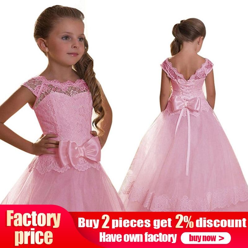 Big Bow Girls First Communion Dress Girls Flower Weddings Prom Dresses Kids Children Ball Gown Fluffy Clothing Vestido Comunion