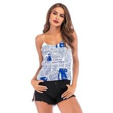 2019 Fashion New tank top Womens newspaper print sleeveless camisole Female Summer Women chiffon shein tops