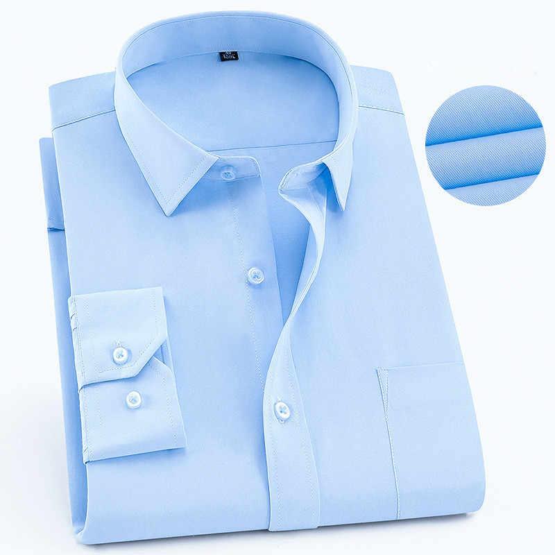 Модные мужские рубашки размера плюс 6XL 5XL 4XL 3XL, черные мужские рубашки с длинным рукавом на пуговицах, однотонная деловая офисная одежда, блузка