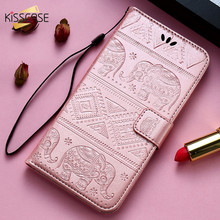 KISSCASE Wallet Case For iPhone 6S 6 7 8 Plus X Cover Elephant Pattern PU Leather Stand Phone Shell For iPhone 5S 5 SE X Fundas flower pattern protective pu leather case cover stand for iphone 5c multicolored