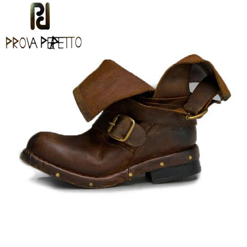 Prova Perfetto Women Ankle Boots Genuine Leather Slip On Flat Booties Autumn Winter Thick Bottomed Martin Boot Botines Mujer farvarwo formal retro buckle chelsea boots mens genuine leather flat round toe ankle slip on boot black kanye west winter shoes