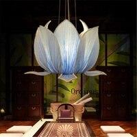 The new Chinese classical imitation cloth pendant lotus lamp Temple teahouse creative restaurant Yoga lotus lamps