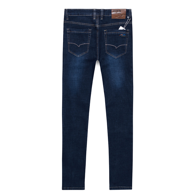 30-48 Big Size Blue Baggy Men Jeans For Spring Autumn Casual Brand High Elastic Stretch Straight Classic Loose Long Denim Pants