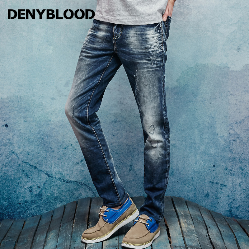 Denyblood Jeans Men Stretch Knitted Denim Pants Distressed Jeans Ripped Patchwork Slim Straight Embroider Casual Pants 162011