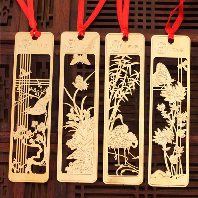4pcs/box creative Cute  plum blossom orchid Bamboo flowers chrysanthemum bookmark stationery bookmarks Kawaii Cartoon Gift