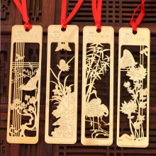 4pcs/box creative Cute  plum blossom orchid Bamboo flowers chrysanthemum bookmark stationery bookmarks Kawaii Cartoon Gift