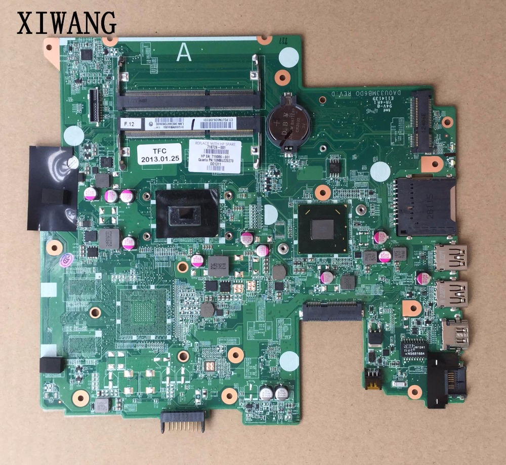 718726-501 718726-001 Free Shipping laptop motherboard for HP pavilion 14 14-B series motherboard with cpu I3-3227U 100% Tested
