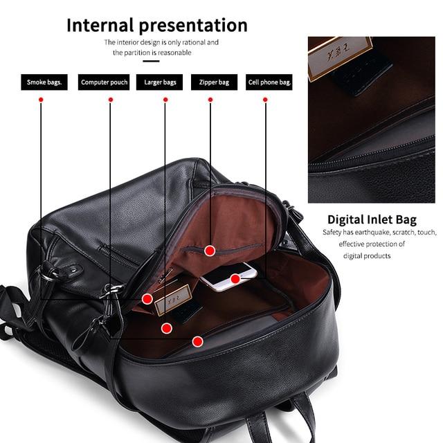 LIELANG Men Backpack External USB Charge Waterproof Backpack Fashion PU Leather Travel Bag Casual School Bag For Teenagers 1