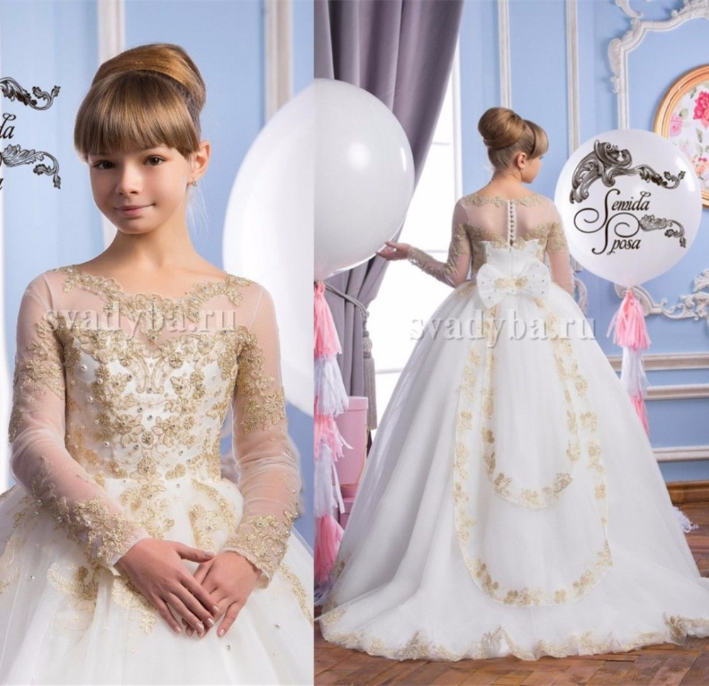 Sheer lace long sleeves flower girl dresses with golden laces pearls beaded junior holy the first communion gowns with train sheer neck lace beaded new flower girl