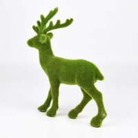 Deer figure Emulate flocked plastic animals Christmas deer figurines Garden decoration Flocking deer decorations