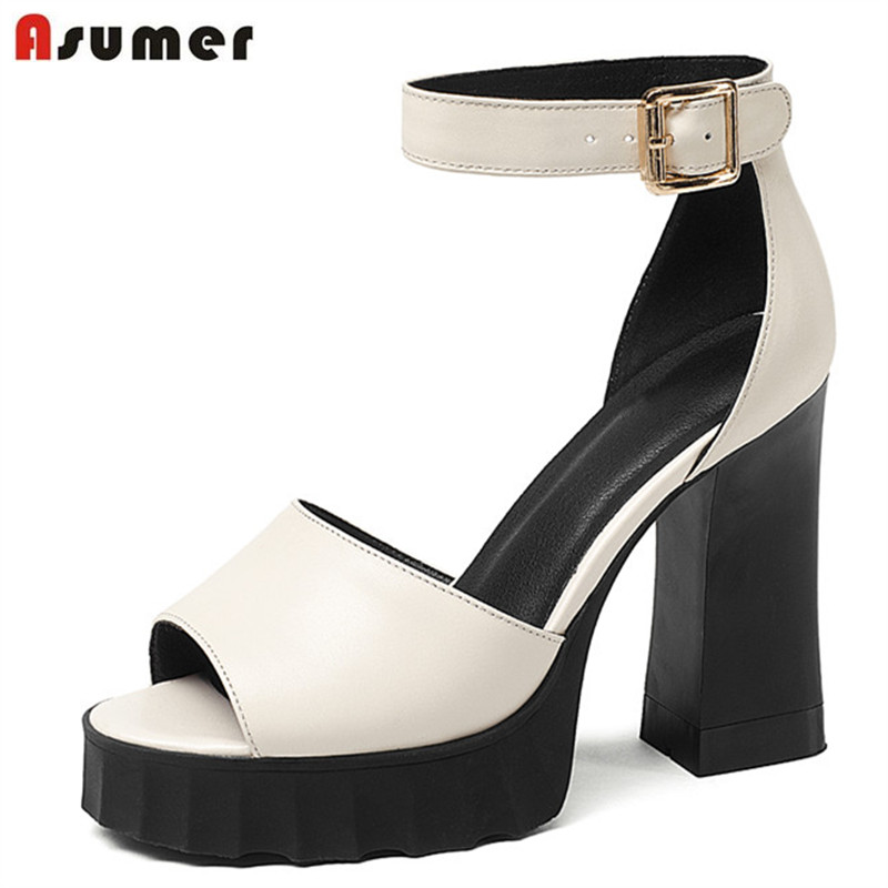 ASUMER 2018 fashion summer women sandals genuine lesther high quality shoes square heels peep toe shoes simple sexy shoes woman