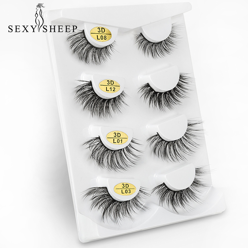 SEXYSHEEP 4Pair/lot 3D False Eyelashes Thick Fake Lashes 100% Hademade Faux Mink Eyelash Extensions Wispy Cross Lahes