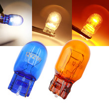 Lymoyo lâmpada de halogênio para carro, 2 peças, t20 7443 7440 12v 16w, luz de aviso, branco quente vidro natural automático 5000k