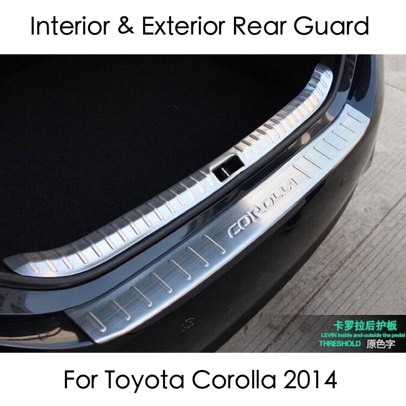 For Toyota Corolla Rear Bumper Protector Tailgate Trunk Guard Trim 2014 2015 2016 Stainless Steel Car-styling Covers Accessories for toyota corolla levin 2014 2015 car styling center control gear panel gears side decoration trim stainless steel