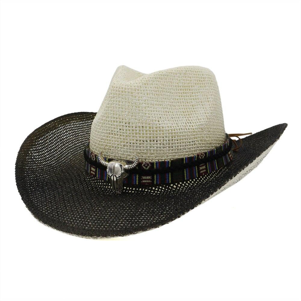 Black Paint Spraying Large Brim Cowboy Hats Summer Men Women Paper Sun Protection Hat Panama Beach Straw Cap Holiday Sunhat