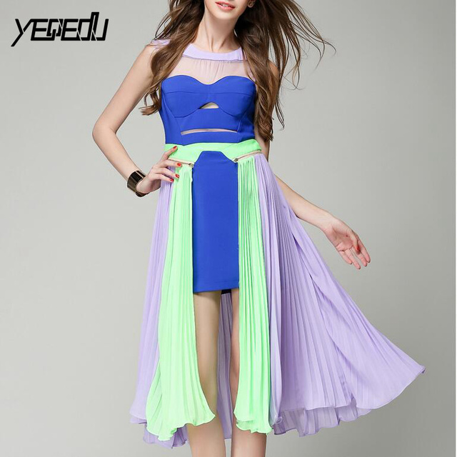 #2765 Summer Sleevelss Candy Color Backless High Waist Runway Dress Women Sexy Strapless Pleated Chiffon Dresses Hollow out