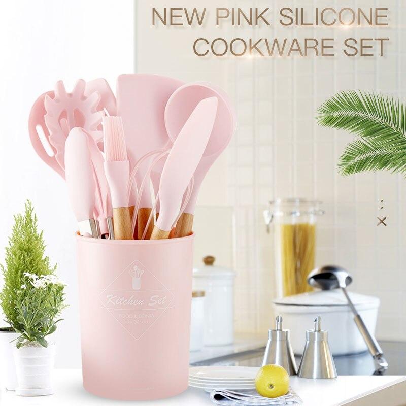 Розовый набор инструментов для приготовления пищи, набор силиконовой посуды премиум класса, щипцы для Тернера, ложка для супа, антипригарная лопата, масляная щетка, кухонный инструмент|Наборы кухонных инструментов|   | АлиЭкспресс