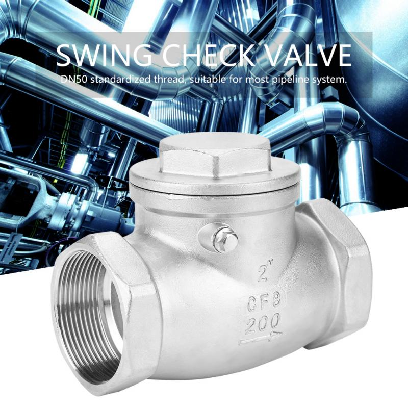 DN50 water valve One Way Swing Check Valve Female Thread 200PSI for Water Oil Gas valvula solenoide Stainless Steel-in Valve from Home Improvement on AliExpress - 11.11_Double 11_Singles' Day 1