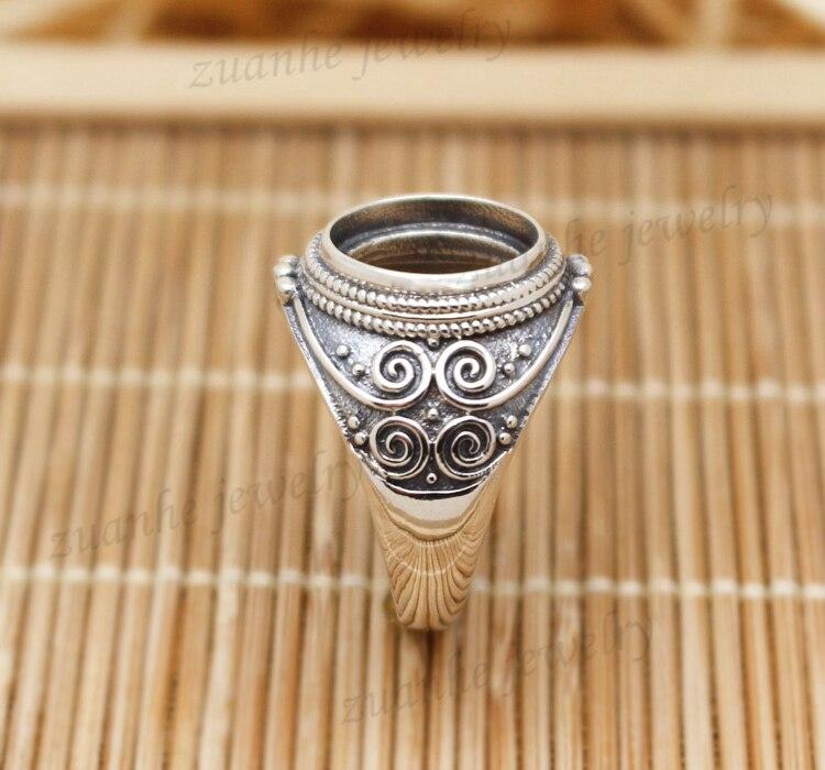 10x12mm Oval Cabochon Semi Mount Ring 925 Sterling Silver Art Nouveau Vintage Antique Men Ring