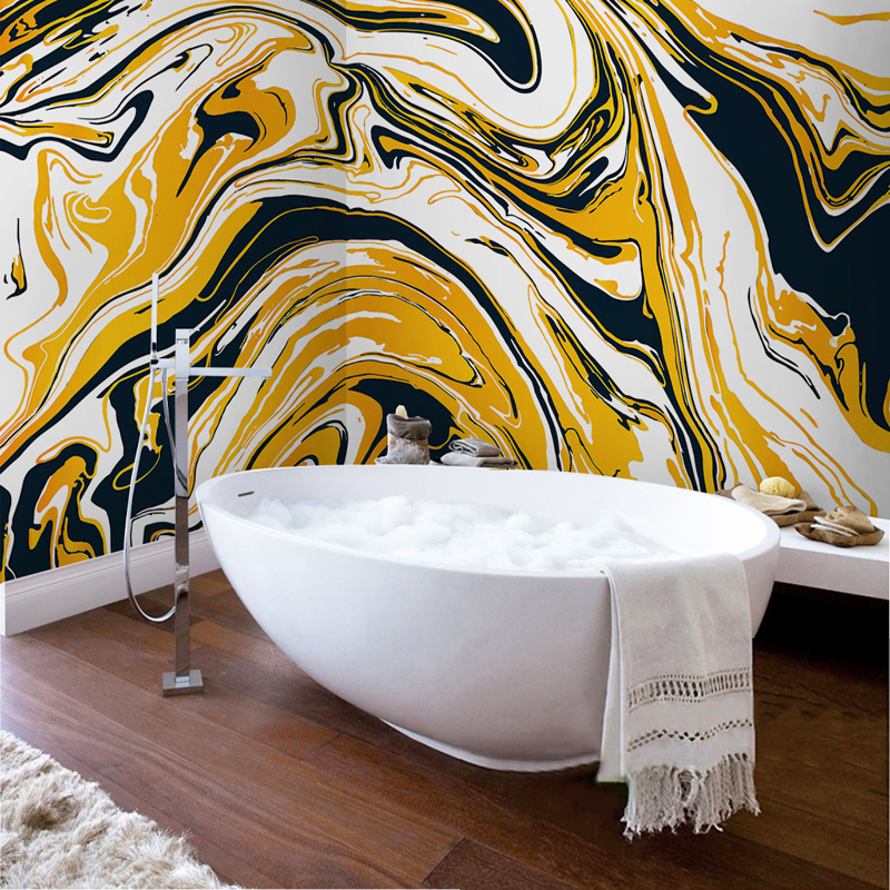 Wallpaper For Bathrooms Vinyl Washable Wallpaper: Modern Abstract Art Wallpaper Sticker PVC Bathroom