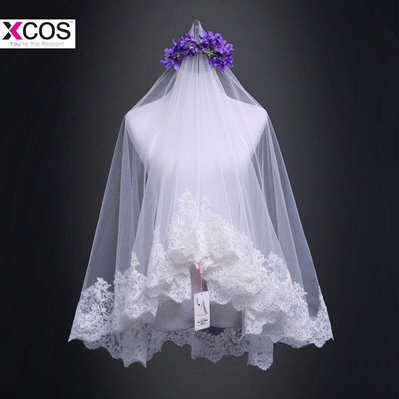 New Arrival 2018 Lace Applique Tulle Short Wedding Veils Cheap Fingertip Bridal Veil Wedding Accessories