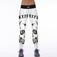 NEW 88029 Sexy Girl Women Vintage New york city NYPD BOYS 3D Prints High Waist Polyester Fitness Leggings Pants