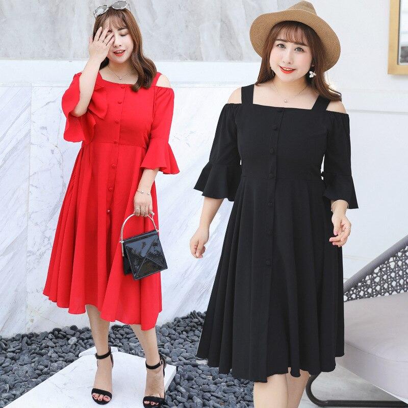 Nouvelle Noir Grande Femmes De Soie Femme Cou rouge Robes Plus D'été Parti Mousseline Size Robe Taille Arrivée 4xl 2018 Sexy Slash oeBdrCxW