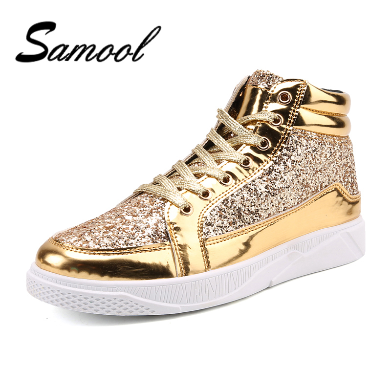 Samool Men Fashion Spring Flats High Top Golden Silver Rivet Sequins Shiny Bright Leather Shoes Leather Casual Shoes Brand NX5