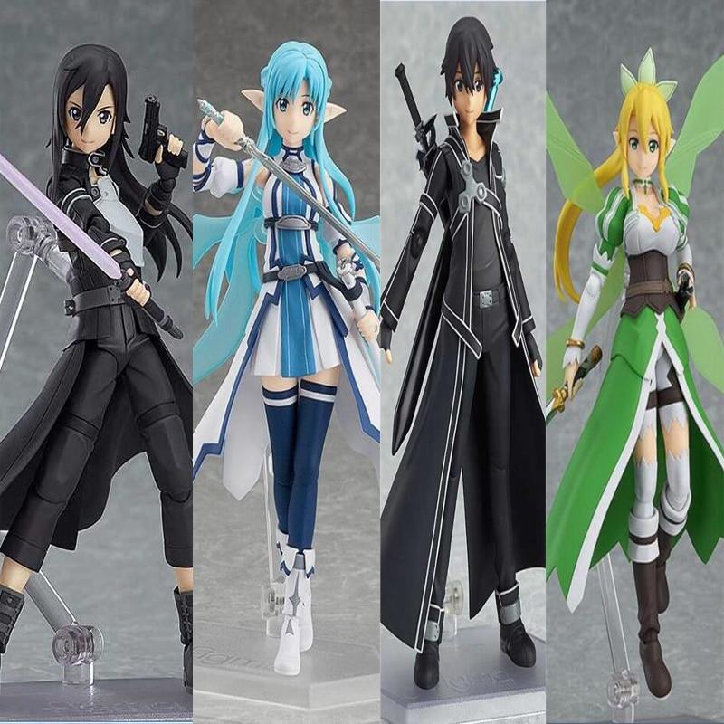 Anime Sword Art Online Sinon Asuna Kirito PVC Action Figures Model Children Gift