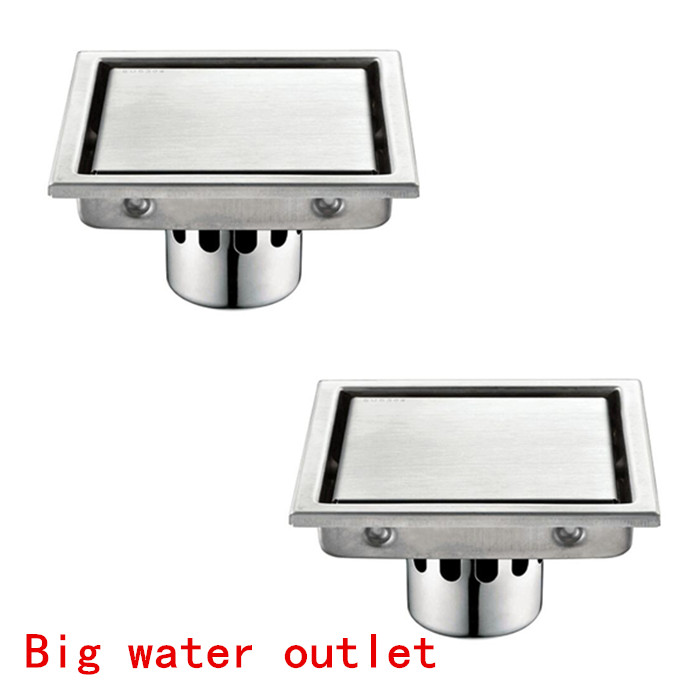 Free shipping 2 pieces big water flow outlet square 304 stainless steel Waste Grates Bathroom Shower