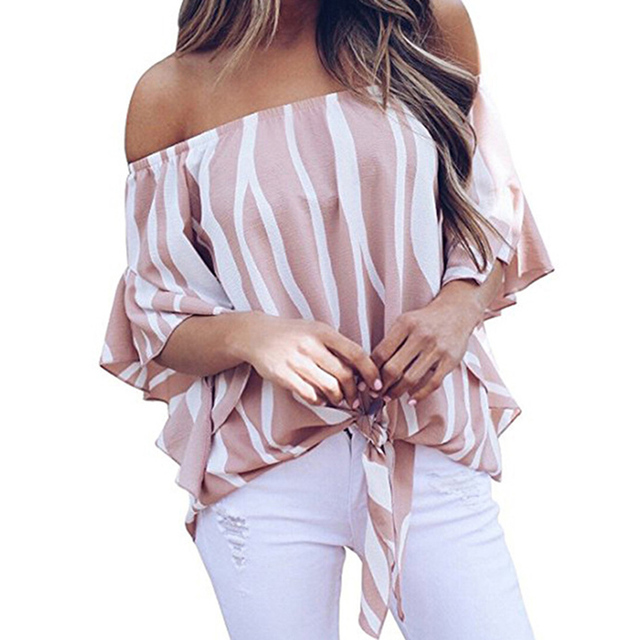 fc91f0a5640a4c Women summer sweet chiffon blouse slash neck flare sleeve stripe print lace  up pullover loose travel fashion casual girls blouse