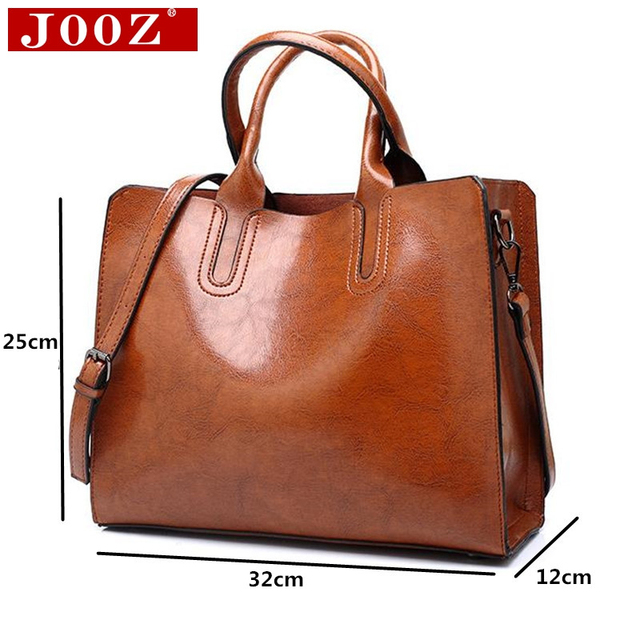 Ladies Oil wax Leather hand bag for Women Famou Brand Trunk Handbags Luxury Designer Femme Casual Tote large Travel Shoulder Bag 5