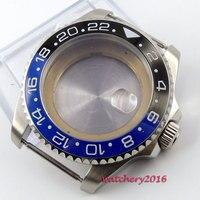 43mm blau schwarz keramik lünette saphirglas edelstahl fit 8215 2836 bewegung Uhr Fällen