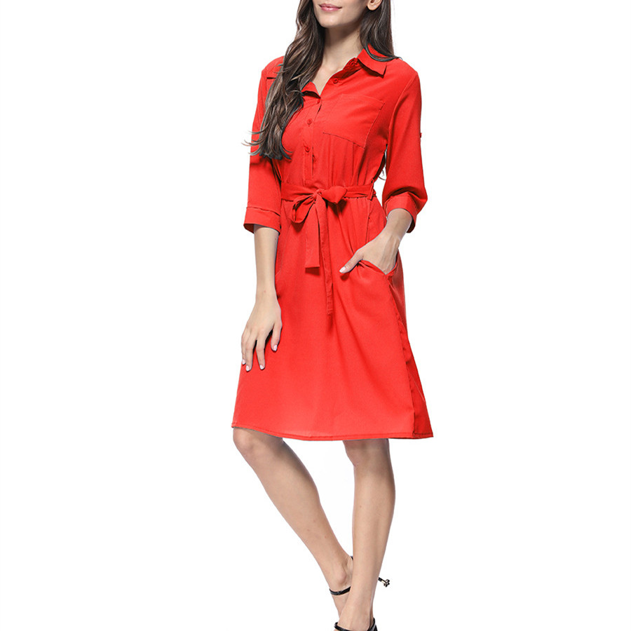 Women Solid Casual Shirt Dresses Turn-down Collar Three Quarter Sleeve Button Pocket Lace-up Midi Dress Summer And Spring 2019