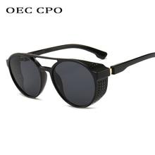 Steampunk Men Sunglasses 2019 New Fashion Round Sun Glasses Men Female Shades Black Red Brown Eyewear Oculos UV400 O11
