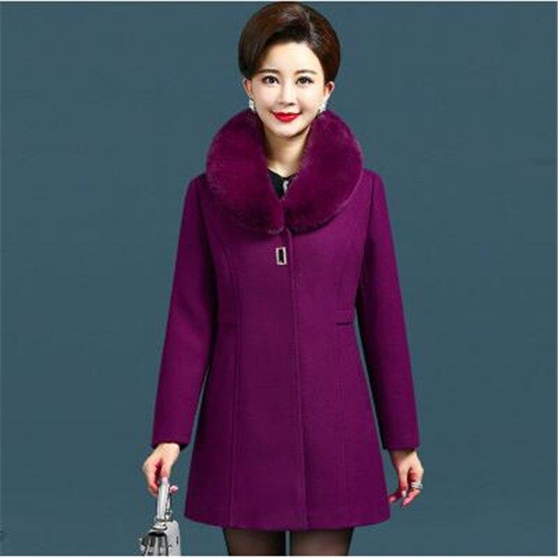 Cappotto Sud Età purple Donna Wine brown Nuovo Abbigliamento Di 2080 Autunno Lunga Delle blue Del Corea Mezza Modo Formato Lana Donne Red Cappotti Inverno Più Il Manica WIYeED9bH2
