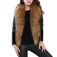 Sleeveless Faux Fur Vest Women Plus Size Fur Coats Shaggy Cardigan Women Clothing Winter Fall 2019 Raccoon Dog Fur Vests T6