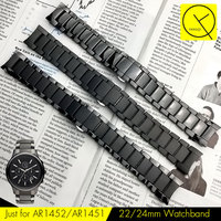 Curved End Ceramic Watchband Steel For Armani 22mm AR1452 24mm AR1451 Man Watch Bracelet Butterfly Buckle