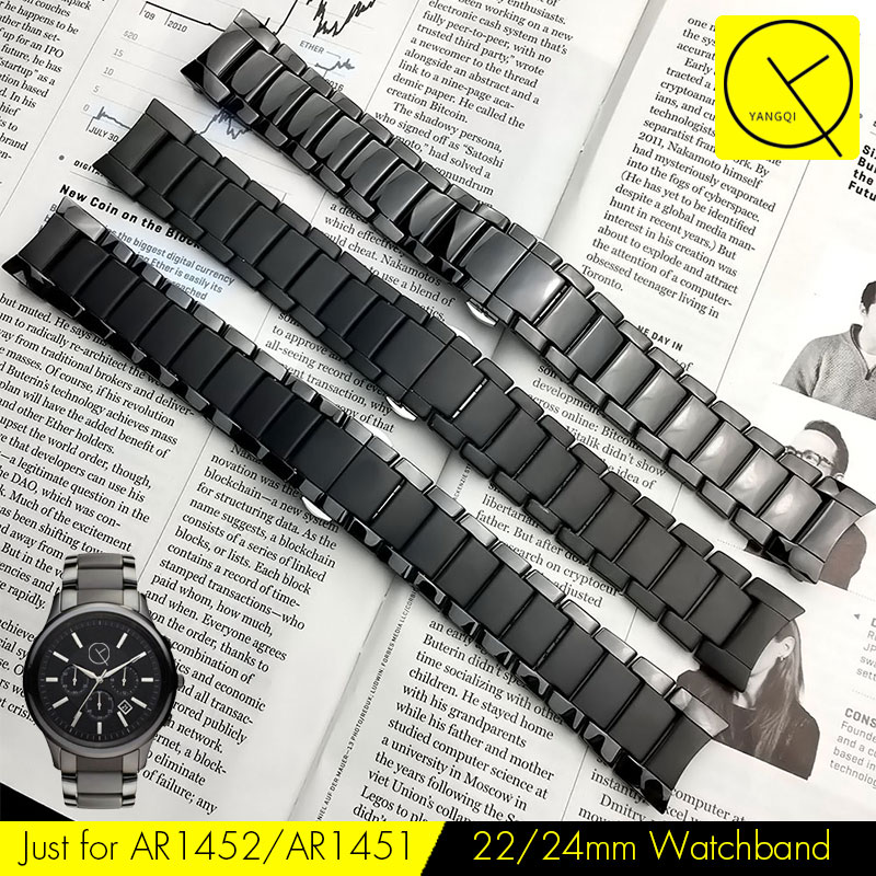 Curved End Ceramic Watchband Steel for Armani 22mm AR1452 24mm AR1451 Watch Bracelet Butterfly Buckle Strap Accessories Gear S3 цена