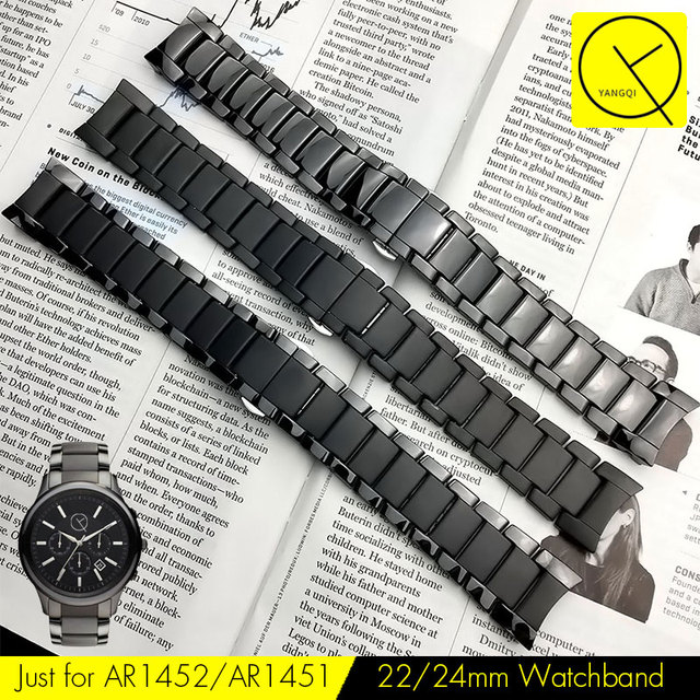 Curved End Ceramic Watchband Steel for Armani 22mm AR1452 24mm AR1451 Watch Brac