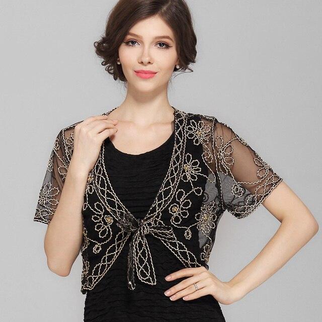 b475bb94 Summer Crochet Lace Mesh Shrug Bolero Women V Collar Short Sleeve  Embroidery Flower See-Through