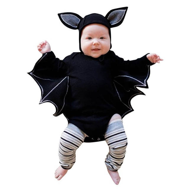 fa18b151e Halloween Newborn Baby clothing Toddler Baby Boys Girls Halloween Bat  Cosplay Costume Long Sleeve Romper Hat Outfits Set 2018
