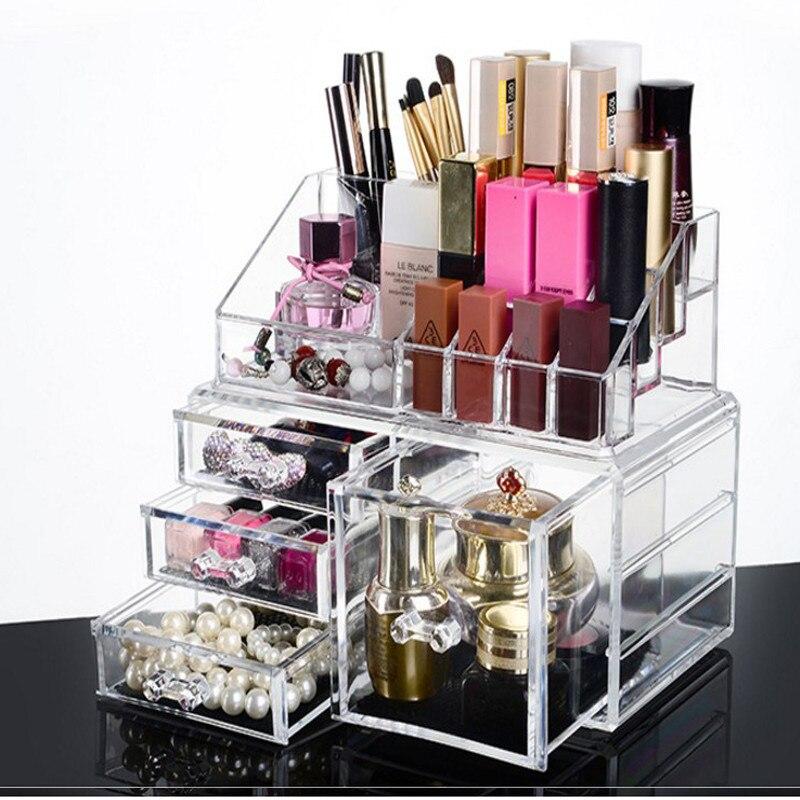 new transparent crystal Lipstick Multi function Display frame Suit Lipstick Powder air cushion Ornaments Drawer Storage box