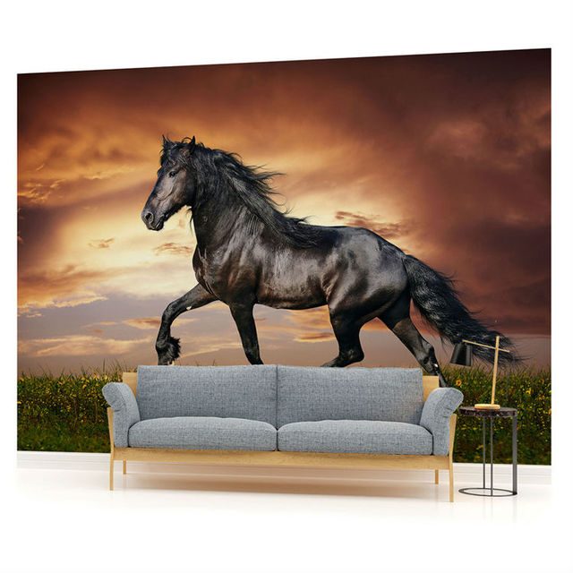 Beautiful Black Horse Wallpaper Animals Photo Custom 3D Mural Waterproof Silk Art Boys Kid Girl