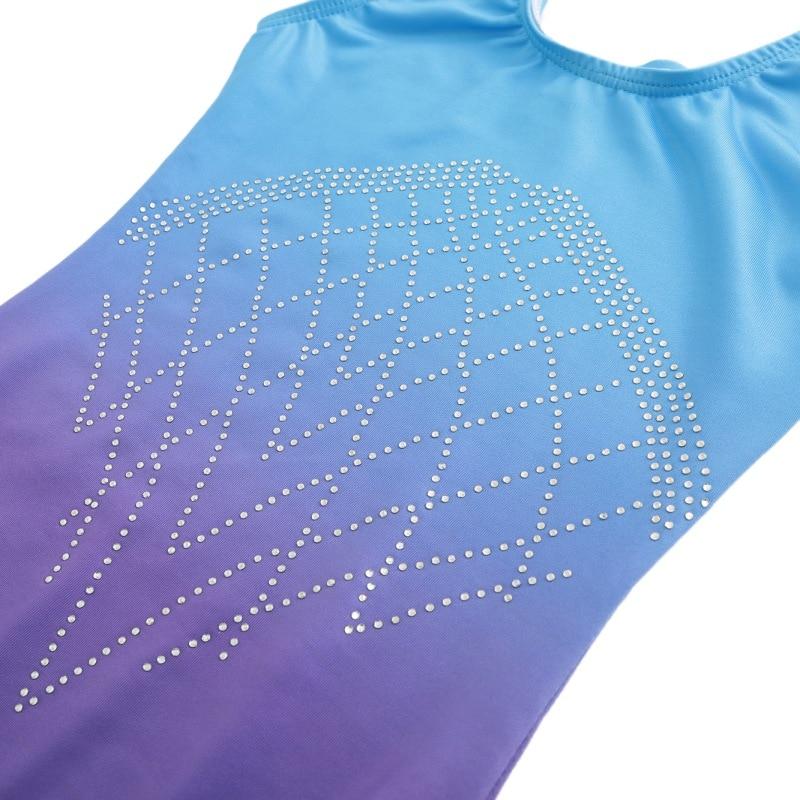 Гимнастический костюм без рукавов с бриллиантами, Одежда для танцев, Одежда для танцев, градиентный цвет, костюм для тела